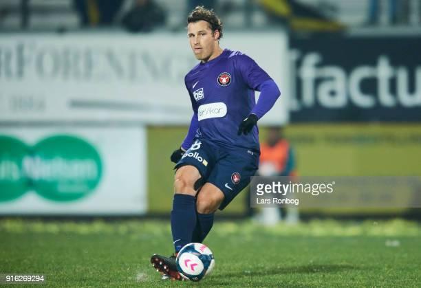 Erik Sviatchenko of FC Midtjylland controls the ball during the Danish Alka Superliga match between AC Horsens and FC Midtjylland at CASA Arena...