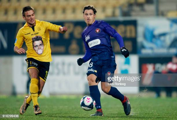 Erik Sviatchenko of FC Midtjylland controls the ball during the Danish Alka Superliga match between AC Horsens and FC Midtjylland at CASA Arena...