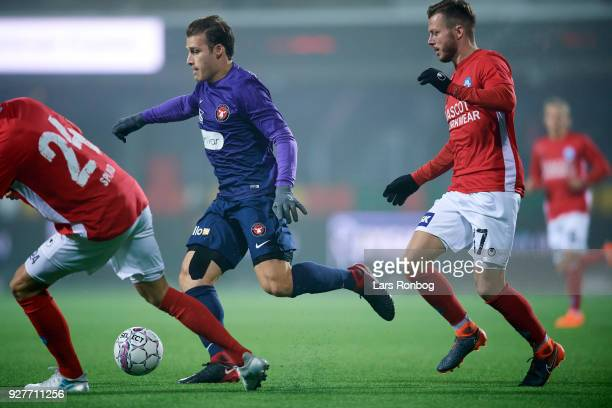 Erik Sviatchenko of FC Midtjylland controls the ball during the Danish Alka Superliga match between Silkeborg IF and FC Midtjylland at JYSK Park on...