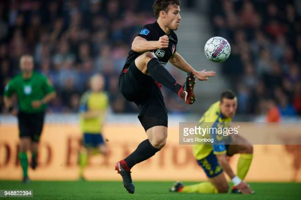 Erik Sviatchenko of FC Midtjylland controls the ball during the Danish Alka Superliga match between FC Midtjylland and Brondby IF at MCH Arena on...