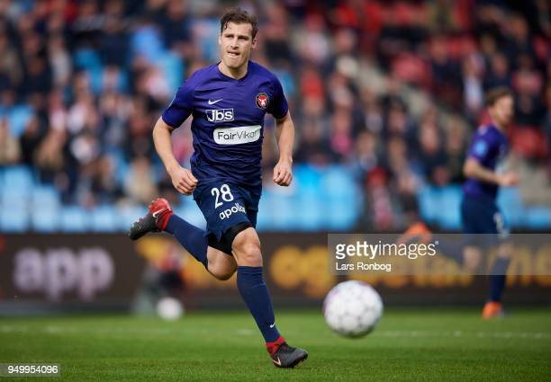 Erik Sviatchenko of FC Midtjylland controls the ball during the Danish Alka Superliga match between AaB Aalborg and FC Midtjylland at Aalborg...
