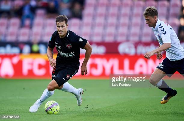 Erik Sviatchenko of FC Midtjylland controls the ball during the Danish Superliga match between FC Midtjylland and AGF Aarhus at MCH Arena on July 14...
