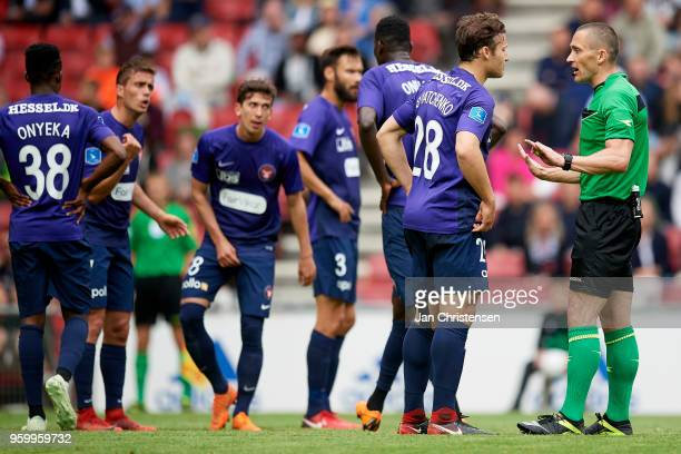 Erik Sviatchenko of FC Midtjylland get a recommendation from referee MadsKristoffer Kristoffersen during the Danish Alka Superliga match between FC...