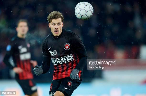 Erik Sviatchenko of FC Midtjylland in action during the Danish Alka Superliga match between FC Midtjylland and Brondby IF at MCH Arena on March 1...