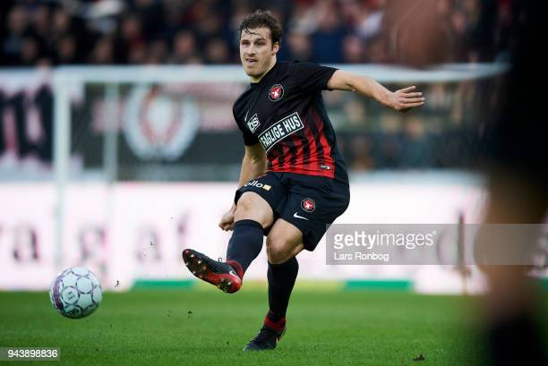 Erik Sviatchenko of FC Midtjylland in action during the Danish Alka Superliga match between FC Midtjylland and FC Copenhagen at MCH Arena on April 9...