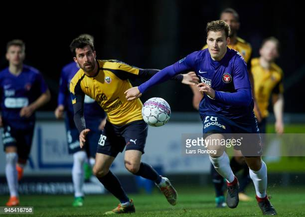 Erik Sviatchenko of FC Midtjylland in action during the Danish DBU Pokalen Cup quarterfinal match between Hobro IK and FC Midtjylland at DS Arena on...