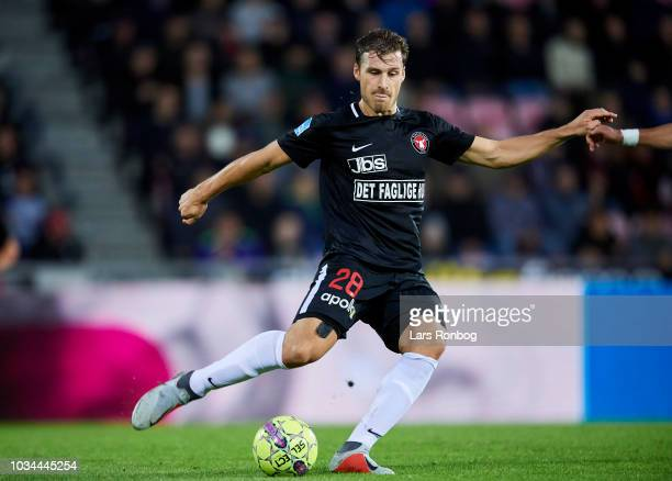Erik Sviatchenko of FC Midtjylland in action during the Danish Superliga match between FC Midtjylland and FC Copenhagen at MCH Arena on September 16...