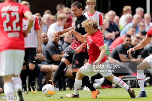 Erik Sviatchenko of FC Midtjylland Jonas Svensson of AZ Alkmaar during the Club Friendly match between AZ Alkmaar v FC Midtjylland at the VV...