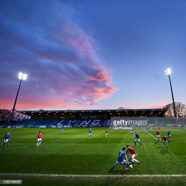 Erik Sviatchenko of FC Midtjylland leading his team on to the pitch prior to the Danish 3F Superliga match between FC Midtjylland and Brondby ÌF at...
