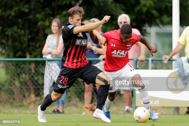 Erik Sviatchenko of FC Midtjylland Myron Boadu of AZ Alkmaar during the Club Friendly match between AZ Alkmaar v FC Midtjylland at the VV Dirkshorn...
