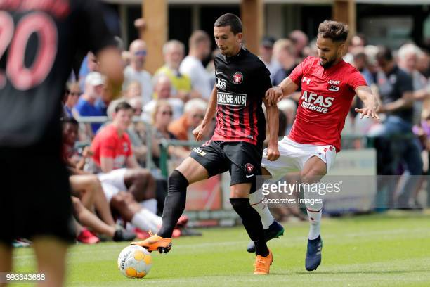 Erik Sviatchenko of FC Midtjylland Pantelis Hatzidiakos of AZ Alkmaar during the Club Friendly match between AZ Alkmaar v FC Midtjylland at the VV...