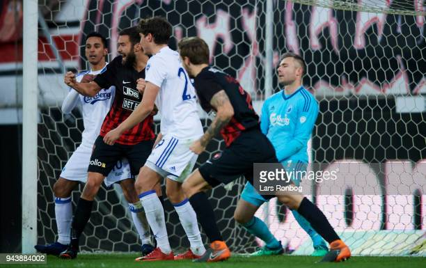 Erik Sviatchenko of FC Midtjylland scores the 22 goal against Goalkeeper Stephan Andersen of FC Copenhagen during the Danish Alka Superliga match...