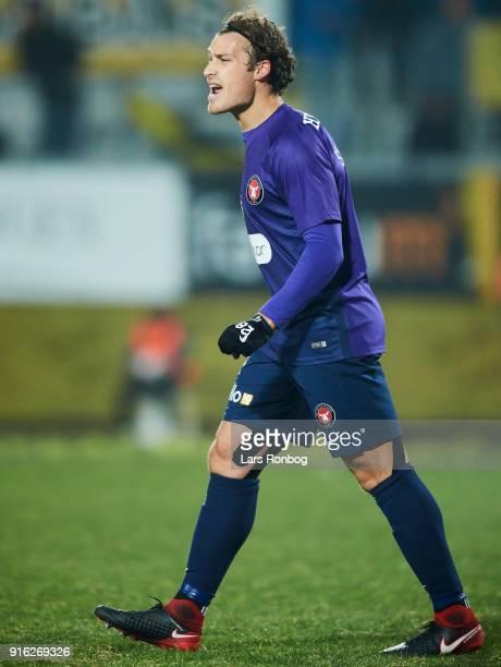 Erik Sviatchenko of FC Midtjylland shouts during the Danish Alka Superliga match between AC Horsens and FC Midtjylland at CASA Arena Horsens on...