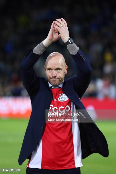 Erik Ten Hag Manager of Ajax celebrates after winning the Eredivisie following the Eredivisie match between De Graafschap and Ajax at Stadion De...
