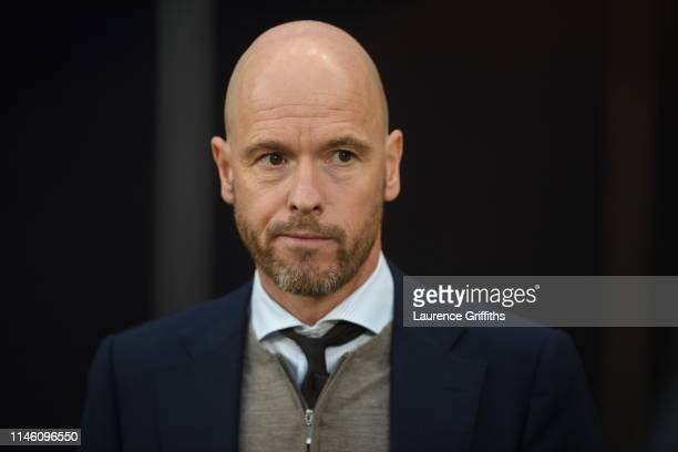 Erik Ten Hag Manager of Ajax looks on prior to the UEFA Champions League Semi Final first leg match between Tottenham Hotspur and Ajax at at the...