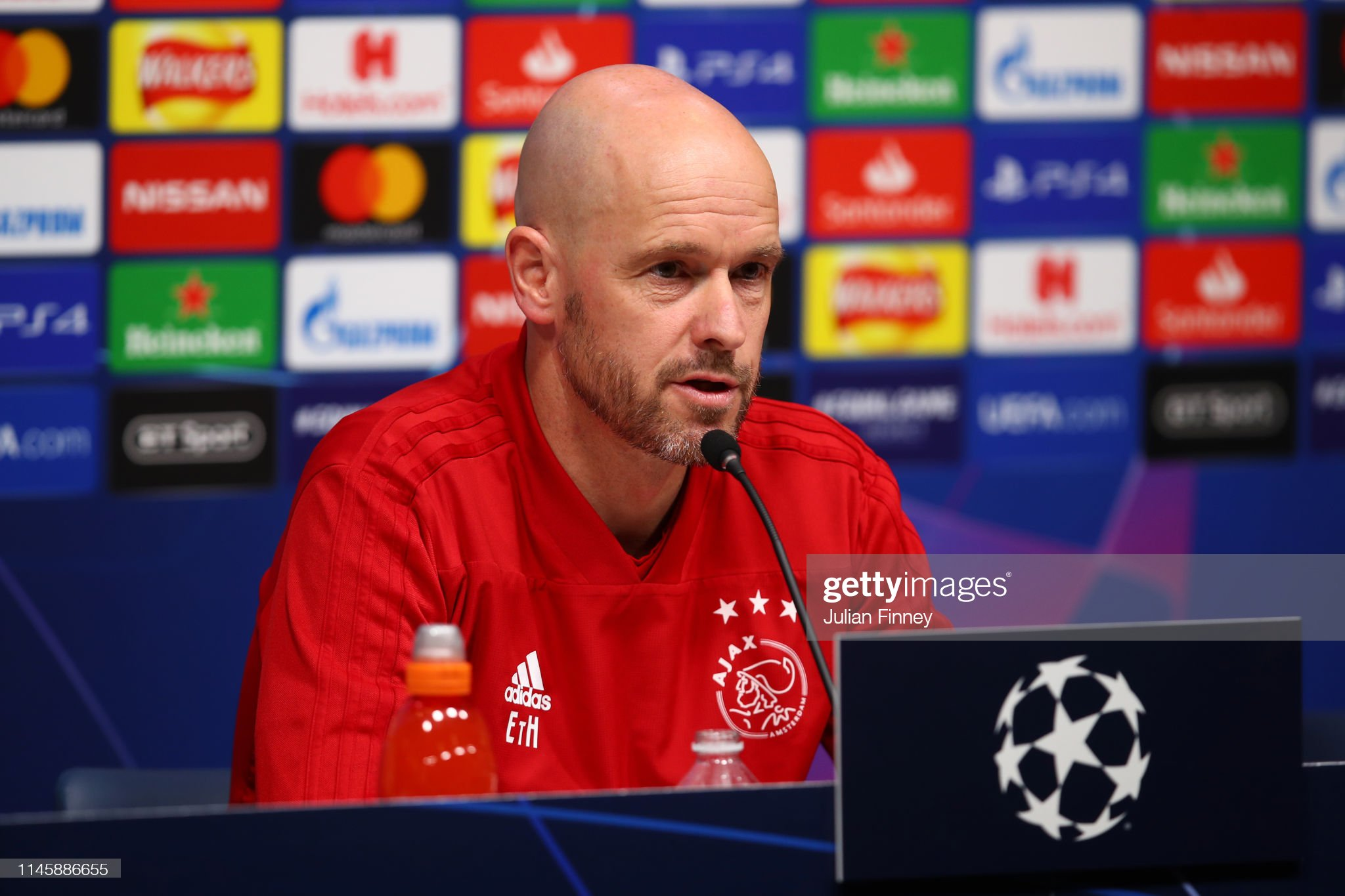 Ajax Training Session and Press Conference : News Photo