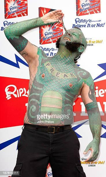 Erik 'The Lizardman' Sprague Pictured At Ripley'S Believe It Or Not The London Pavilion London During The Launch Of Ripley'S Believe It Or Not...