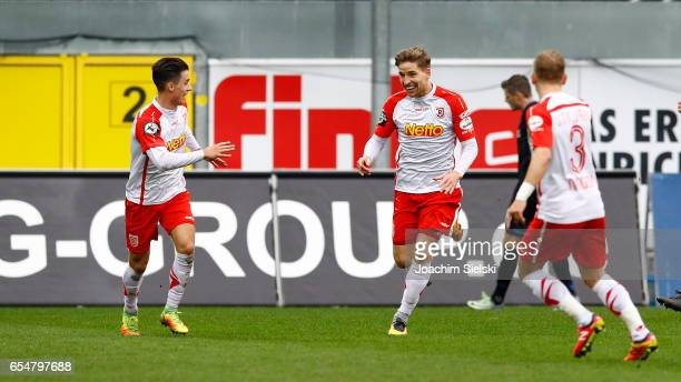 Erik Thommy Kolja Pusch and Alexander Nandzik of Regensburg celbration the Goal 02 during the third league match between SC Paderborn and Jahn...