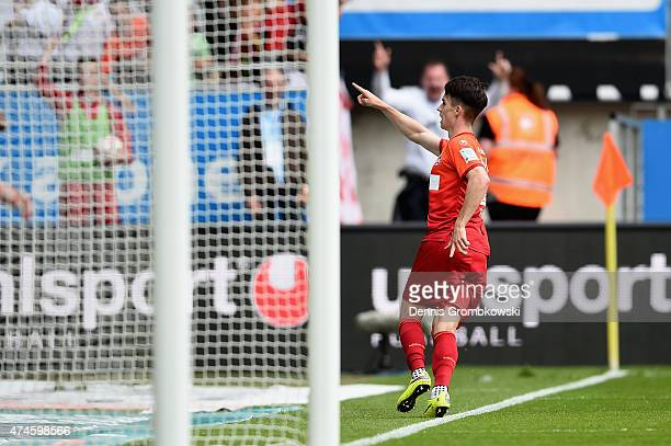 Erik Thommy of 1 FC Kaiserslautern celebrates as he scores the opening goal during the Second Bundesliga match between 1 FC Kaiserslautern and FC...
