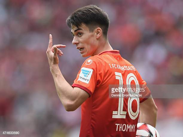 Erik Thommy of 1 FC Kaiserslautern gestures during the Second Bundesliga match between 1 FC Kaiserslautern and FC Ingolstadt at FritzWalterStadion on...
