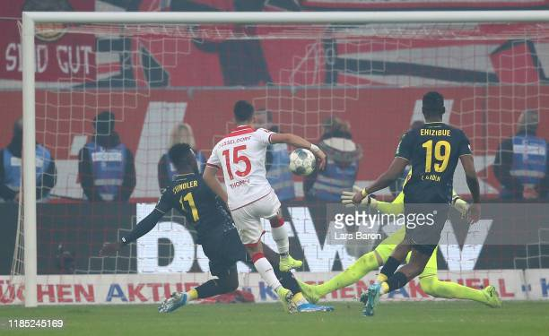 Erik Thommy of Duesseldorf scores his teams second goal during the Bundesliga match between Fortuna Duesseldorf and 1. FC Koeln at Merkur Spiel-Arena...