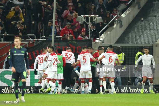 Erik Thommy of Dusseldorf celebrates after scoring his sides second goal during the Bundesliga match between Fortuna Duesseldorf and 1 FC Union...