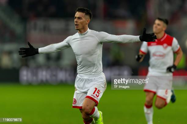 Erik Thommy of Fortuna Duesseldorf celebrates after scoring his team's second goal during the Bundesliga match between Fortuna Duesseldorf and 1 FC...