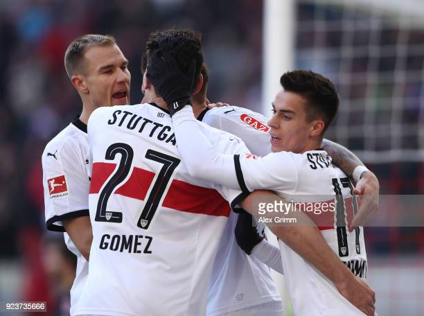 Erik Thommy of Stuttgart celebrates after he scored a goal to make it 10 during the Bundesliga match between VfB Stuttgart and Eintracht Frankfurt at...