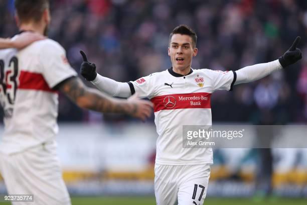 Erik Thommy of Stuttgart celebrates after he scored a goal to make it 10 during the Bundesliga match between VfB Stuttgart and Eintracht Frankfurt at...