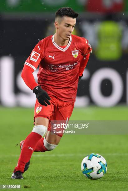 Erik Thommy of Stuttgart in action during the Bundesliga match between VfL Wolfsburg and VfB Stuttgart at Volkswagen Arena on February 3 2018 in...