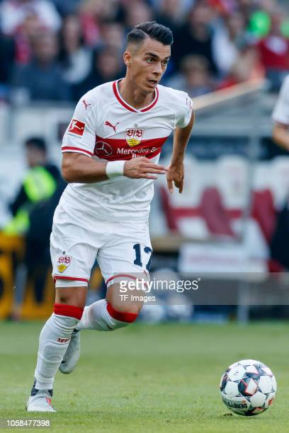 Erik Thommy of VfB Stuttgart controls the ball during the Bundesliga match between VfB Stuttgart and Borussia Dortmund at MercedesBenz Arena on...
