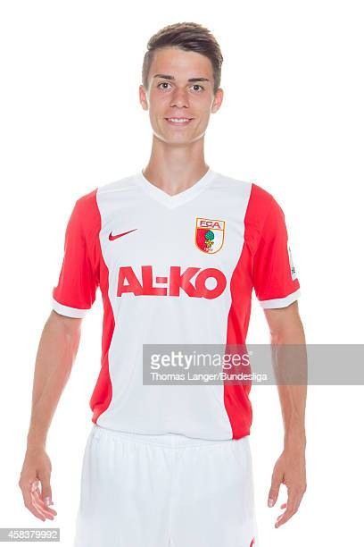 Erik Thommy poses during the FC Augsburg team presentation at SGLArena on July 16 2014 in Augsburg Germany