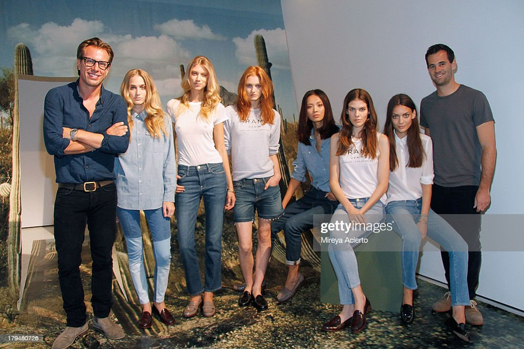 Erik Torstensson and Jens Grede with models at the Frame Denim presentation during Mercedes-Benz Fashion Week Spring 2014 at Openhouse Gallery on September 4, 2013 in New York City.