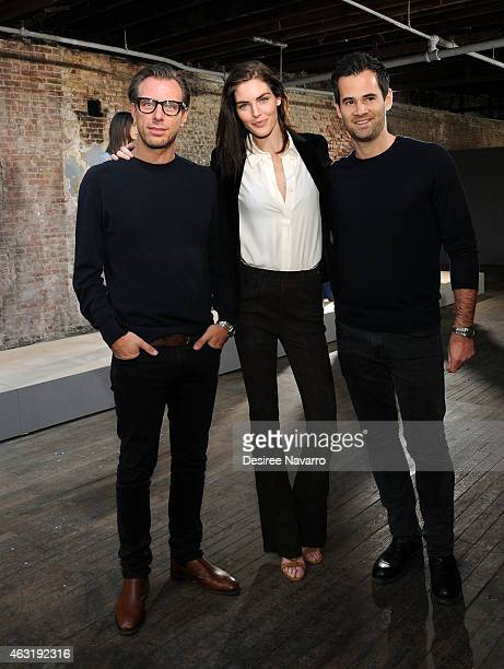 Erik Torstensson model Hilary Rhoda Jens Grede attend FRAME Denim Presentation MercedesBenz Fashion Week Fall 2015 on February 11 2015 in New York...