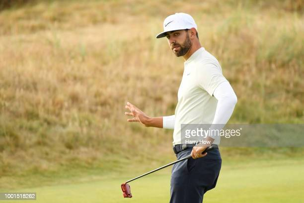 Erik Van Rooyen of South Africa celebrates after a birdie on the second hole during the first round of the 147th Open Championship at Carnoustie Golf...