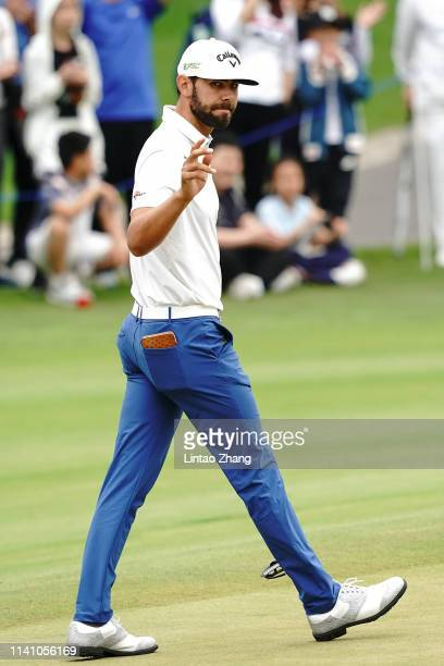 Erik Van Rooyen of South Africa celebrates after after plays a shot during day three of the 2019 Volvo China Open at Genzon Golf Club on May 4, 2019...
