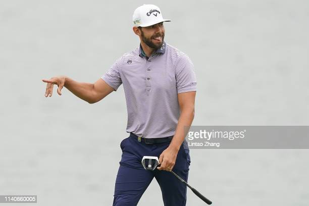 Erik Van Rooyen of South Africa celebrates after playing a shot during day 1 of the 2019 Volvo China Open at Genzon Golf Club on May 2, 2019 in...