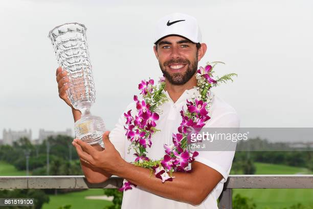 Erik Van Rooyen of South Africa celebrates after winning the 2017 Hainan Open at the Luihuitou Golf Club on October 15 2017 in Hainan Island China