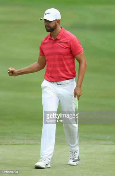 Erik Van Rooyen of South Africa celebrates on the 11th green during the first round of the Tshwane Open at Pretoria Country Club on March 1, 2018 in...