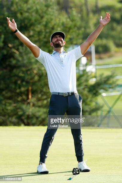 Erik Van Rooyen of South Africa celebrates victory on the 18th green during the final round of the Scandinavian Invitation at Hills Golf & Sports...