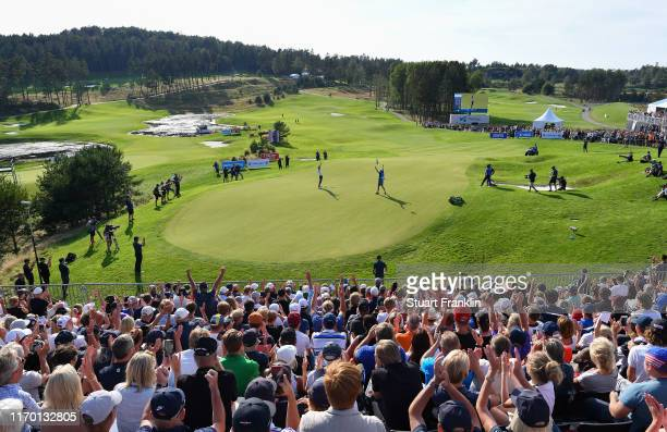 Erik Van Rooyen of South Africa celebrates winning on the 18th hole during Day Four of the Scandinavian Invitation at The Hills Golf and Sport Clun...