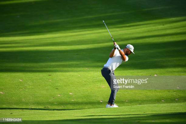 Erik Van Rooyen of South Africa hits an approach shot on the 17th hole during the final round of the Scandinavian Invitation at Hills Golf & Sports...