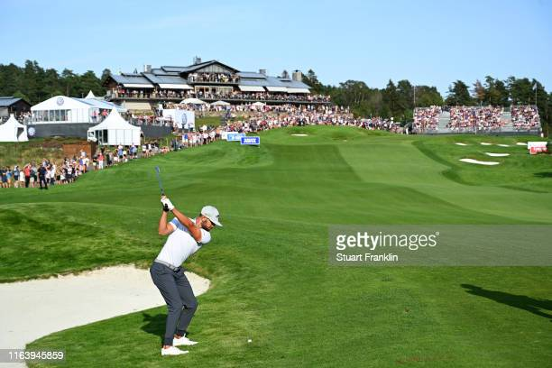 Erik Van Rooyen of South Africa hits an approach shot on the 18th hole during the final round of the Scandinavian Invitation at Hills Golf & Sports...
