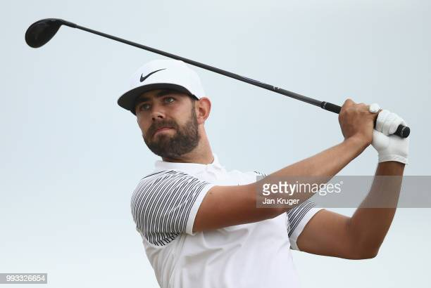 Erik van Rooyen of South Africa hits his teeshot on the ninth hole during the third round of the Dubai Duty Free Irish Open at Ballyliffin Golf Club...