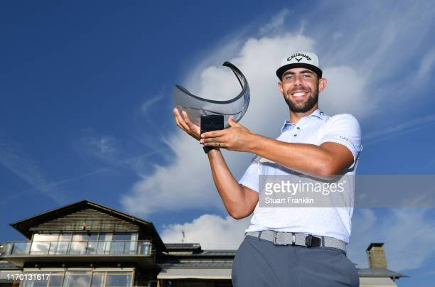 Erik Van Rooyen of South Africa holds the winners trophy after Day Four of the Scandinavian Invitation at The Hills Golf and Sport Clun on August 25,...