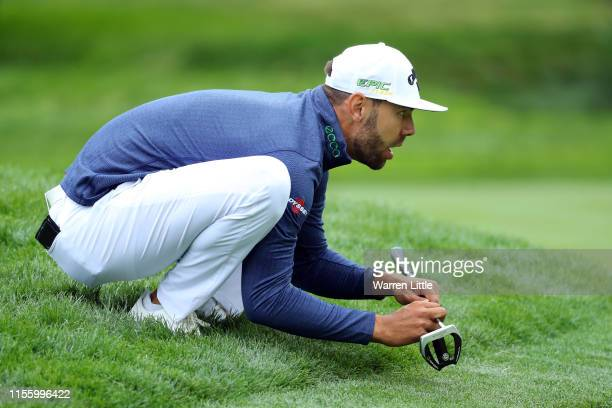 Erik van Rooyen of South Africa lines up a putt on the second green during the second round of the 2019 US Open at Pebble Beach Golf Links on June 14...