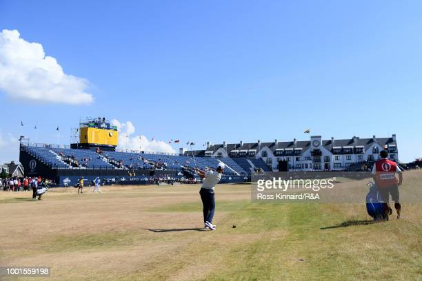 Erik Van Rooyen of South Africa on the 18th fairway during round one of the 147th Open Championship at Carnoustie Golf Club on July 19, 2018 in...