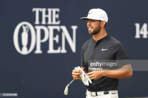 Erik Van Rooyen of South Africa on the first tee during the third round of the 147th Open Championship at Carnoustie Golf Club on July 21 2018 in...