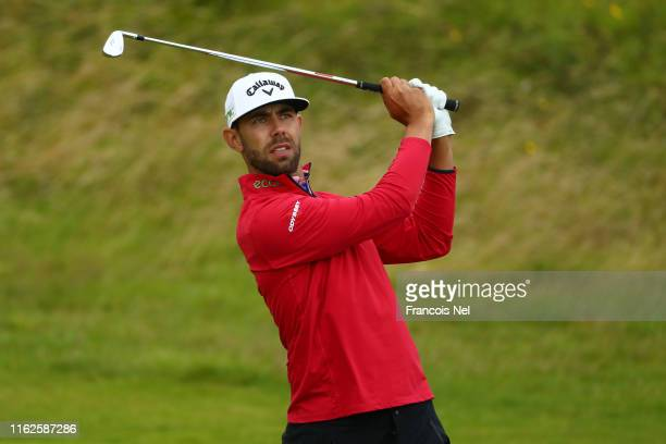 Erik van Rooyen of South Africa plays a shot during a practice round prior to the 148th Open Championship held on the Dunluce Links at Royal Portrush...
