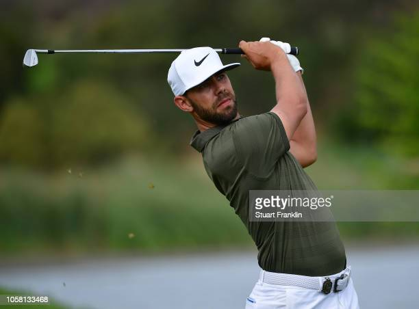 Erik Van Rooyen of South Africa plays a shot during practice prior to the start of the Nedbank Golf Challenge at Gary Player CC on November 6 2018 in...